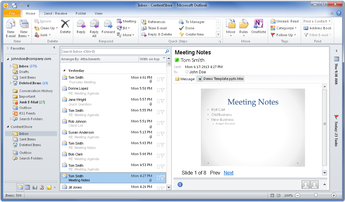 Previewing Email Attachments in the ContentStore Email Viewer