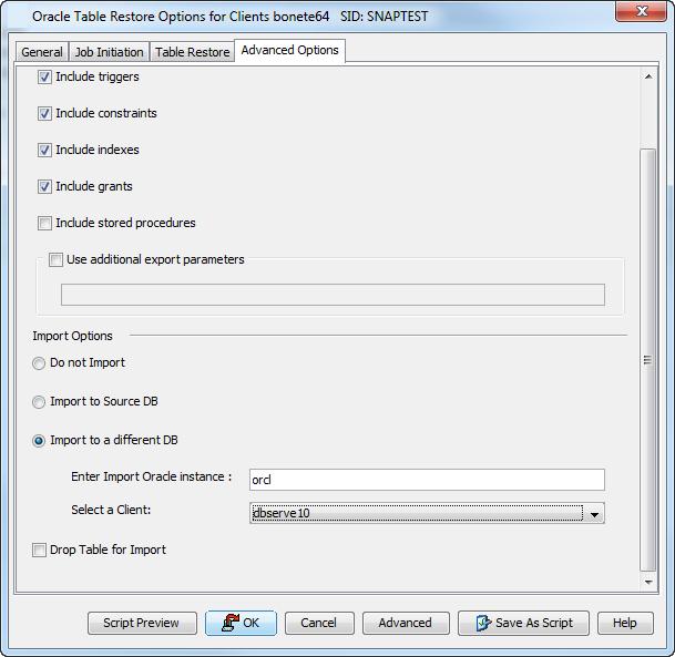 Restoring Database Tables