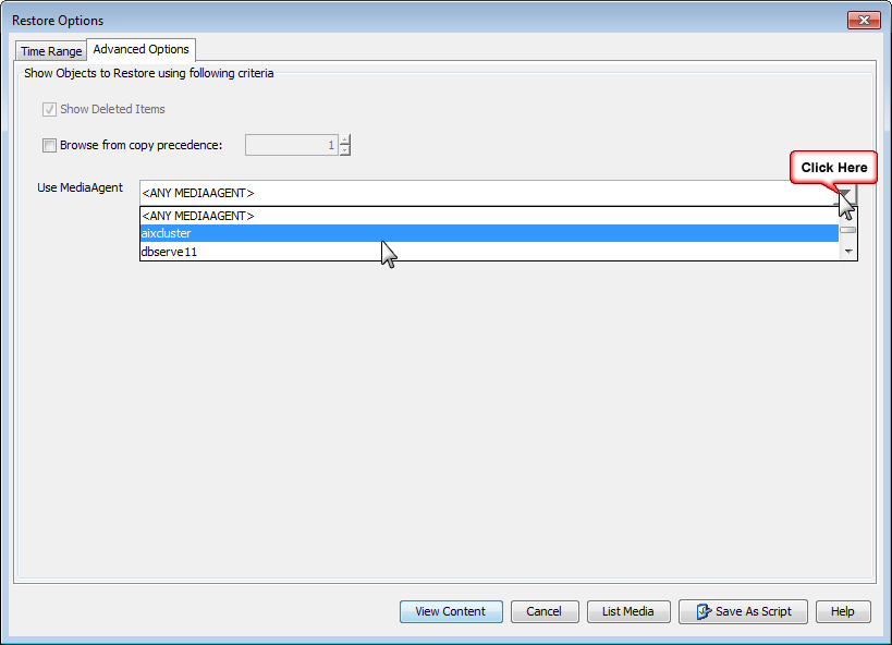 Browse and Restore – DB2 iDataAgent